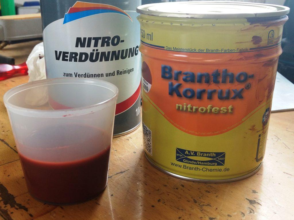 Brantho Korrux, Rostschutzfarbe für die AFN Heckstoßstange